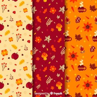 Kolekcja płaskich jesiennych wzorów