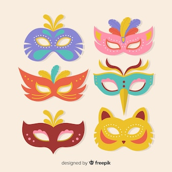 Kolekcja płaskich karnawałowe maski