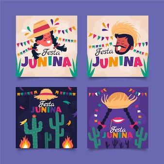 Kolekcja płaskich kart festa junina