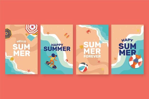 Kolekcja płaskich kart letnich