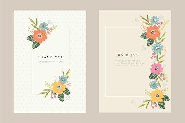 Kolekcja płaskich kart z kwiatami