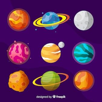 Kolekcja płaskich kolorowych planet