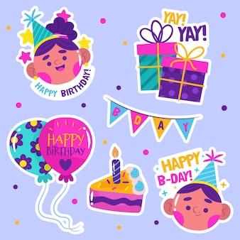 Kolekcja płaskich kolorowych urodzin
