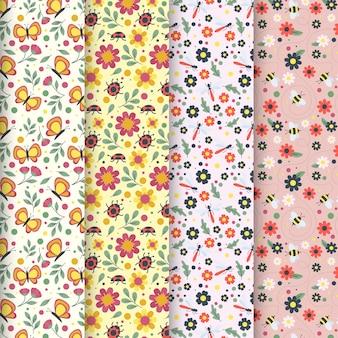 Kolekcja płaskich kolorowych wiosennych wzorów