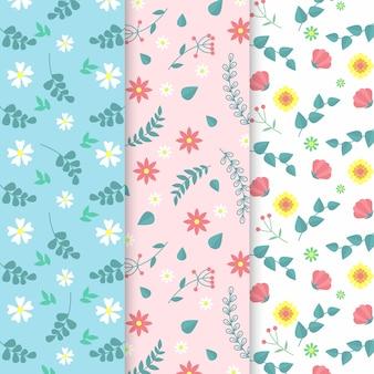 Kolekcja płaskich kolorowych wzorów wiosennych