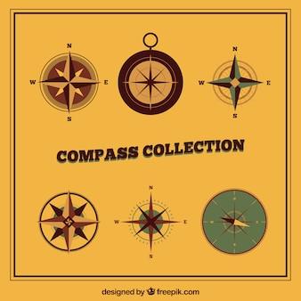 Kolekcja płaskich kompasów