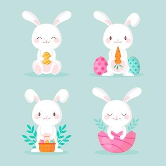 Kolekcja płaskich króliczków wielkanocnych