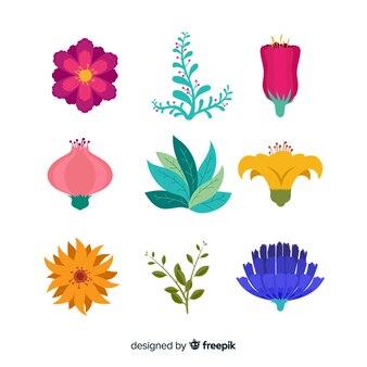 Kolekcja płaskich kwiatów i liści