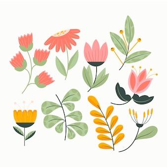 Kolekcja płaskich kwiatów