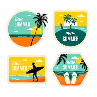 Kolekcja płaskich letnich etykiet