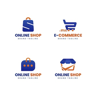 Kolekcja płaskich logo e-commerce