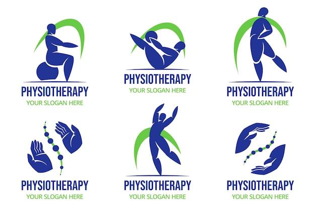 Kolekcja płaskich logo fizjoterapii