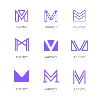 Kolekcja płaskich logo m.