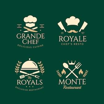 Kolekcja płaskich logo szefa kuchni