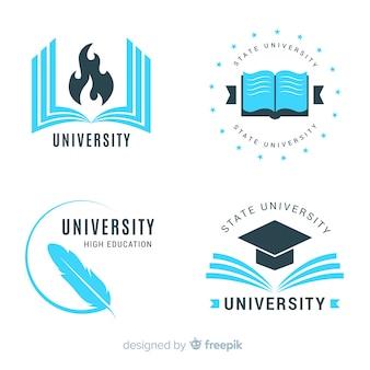 Kolekcja płaskich logo uniwersytetu