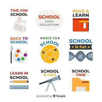 Kolekcja płaskich logotypów szkolnych