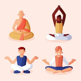 Kolekcja płaskich ludzi medytujących