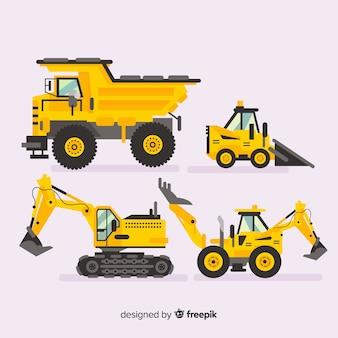Kolekcja płaskich maszyn budowlanych