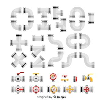Kolekcja płaskich metalowych rurociągów