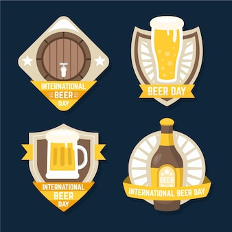 Kolekcja płaskich międzynarodowych etykiet na dzień piwa