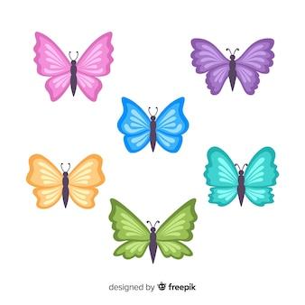 Kolekcja płaskich motyli