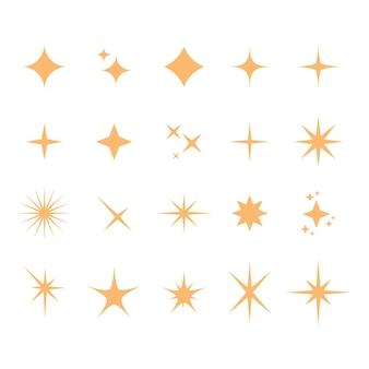 Kolekcja płaskich musujących gwiazd