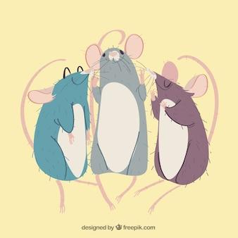 Kolekcja płaskich myszy o różnych pozach
