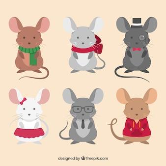Kolekcja płaskich myszy