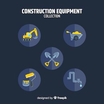 Kolekcja płaskich narzędzi budowlanych