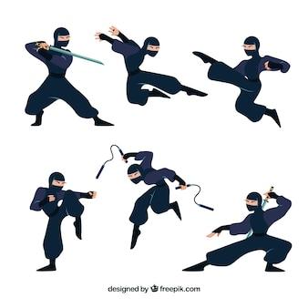 Kolekcja płaskich ninja w różnych pozach