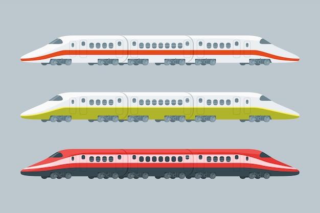 Kolekcja płaskich nowoczesnych pociągów dużych prędkości