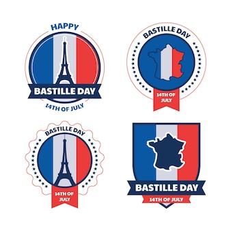 Kolekcja płaskich odznak na dzień bastylii