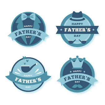 Kolekcja płaskich odznak na dzień ojca