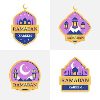 Kolekcja płaskich odznak ramadan