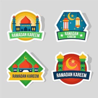 Kolekcja płaskich odznak ramadanu