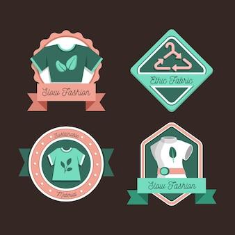 Kolekcja płaskich odznak w stylu slow fashion