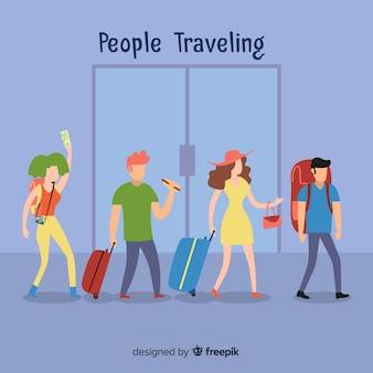Kolekcja płaskich osób podróżujących