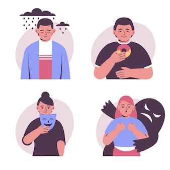 Kolekcja płaskich osób z problemami ze zdrowiem psychicznym