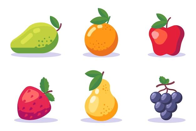 Kolekcja płaskich owoców