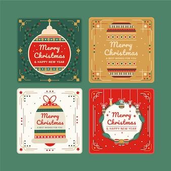 Kolekcja płaskich ozdobnych kartek świątecznych