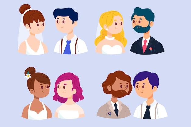 Kolekcja płaskich par ślubnych