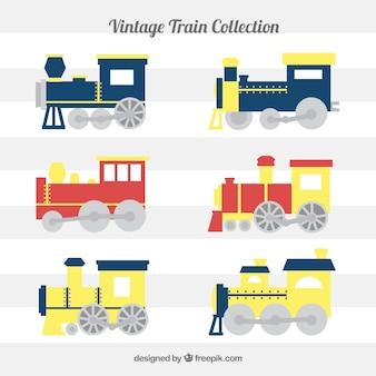 Kolekcja płaskich pociągów z żółtymi szczegółami