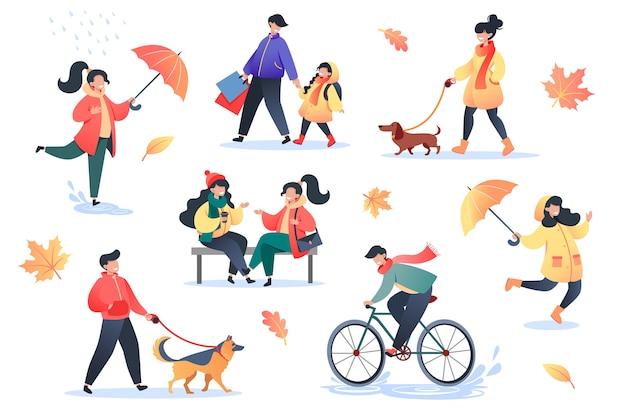 Kolekcja płaskich postaci na jesienny dzień, jesień na świeżym powietrzu, aktywnych ludzi w parku.