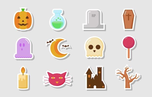 Kolekcja płaskich przerażających naklejek na halloween