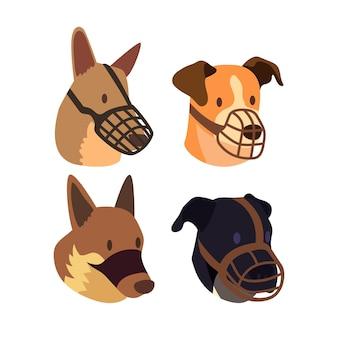 Kolekcja płaskich psów w kagańcu