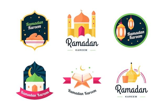 Kolekcja płaskich ramadan etykiety