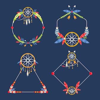 Kolekcja płaskich ramek boho