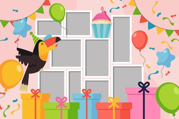Kolekcja płaskich ramek kolaż urodziny