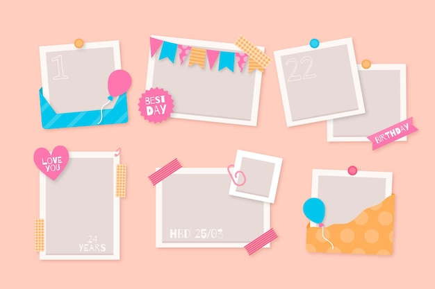 Kolekcja płaskich ramek urodzinowych kolażu