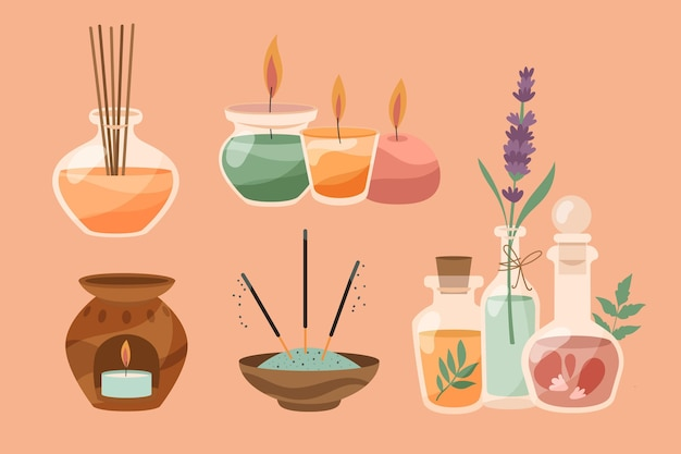 Kolekcja płaskich ręcznie rysowane aromaterapii